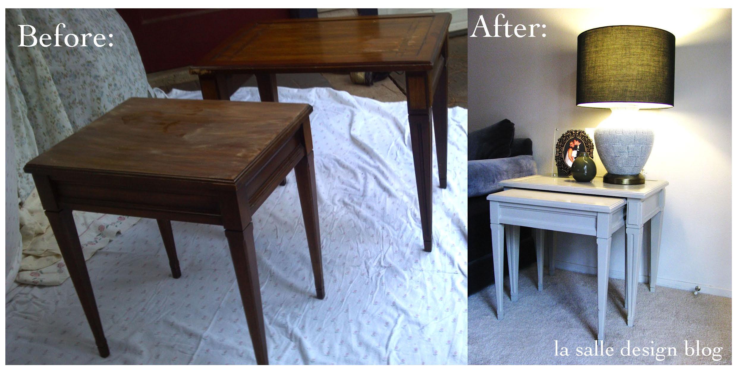 Wonderful image of Refinish: Nesting Tables la salle design blog with #3D5C8E color and 2486x1250 pixels