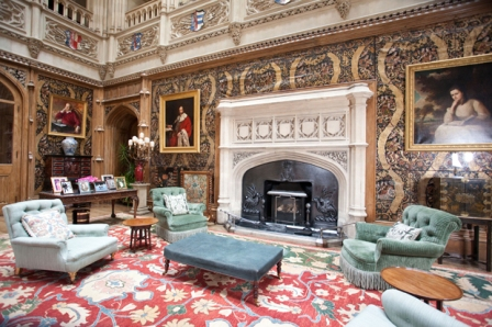 The Saloon entrance hall, Highclere Castle, home of Lord and Lady Carnarvon, Newbury, Berkshire, England, UK. Photo:Jeff Gilbert